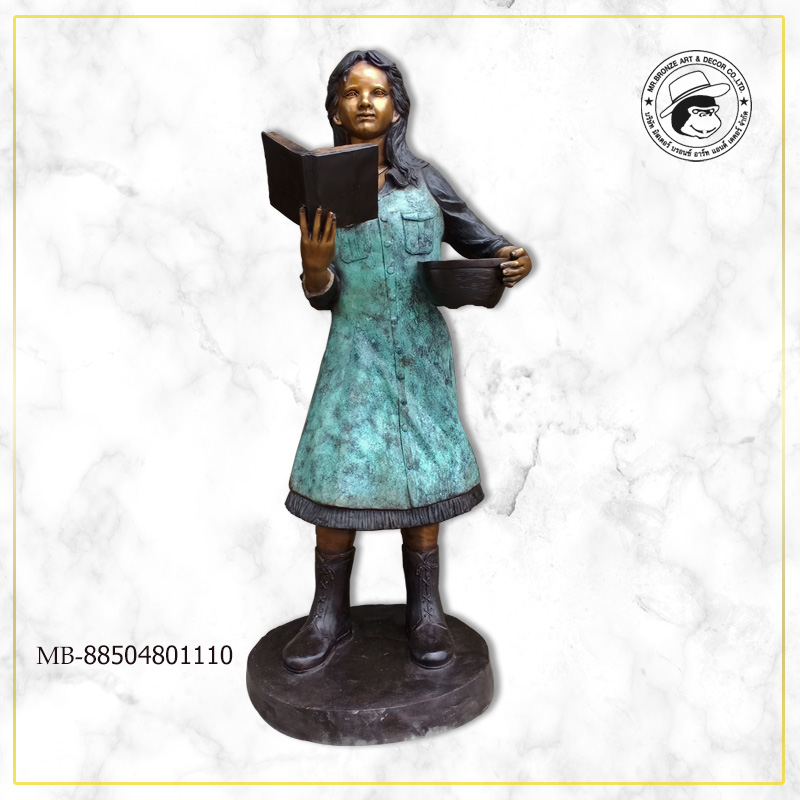Girl carrying book and basket 57x50x144 cm. 42kg.